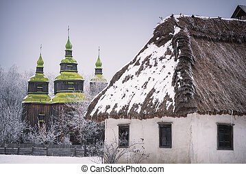 Traditional Ukrainian folk architecture in Kiev Museum -...
