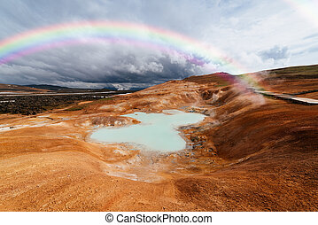 Sulfur springs on the slope of a clay hill in the volcanic...