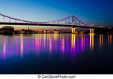 Night landscape with a bridge in the city of Kyiv - Night...