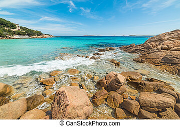 rocks and turquoise water in Capriccioli beach, Sardinia