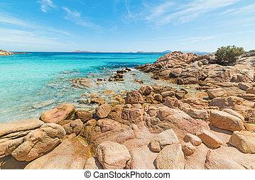 turquoise water and rocks in Capriccioli beach, Sardinia
