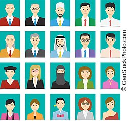 Half body shot People in flat style with green background
