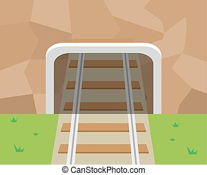 Mountain Tunnel and railroad in flat style