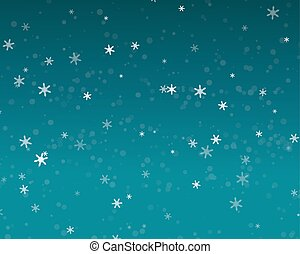 Snow fall in blue sky, Christmas night background, vector