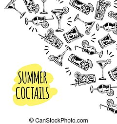 Summer coctails on white background - Background with vector...