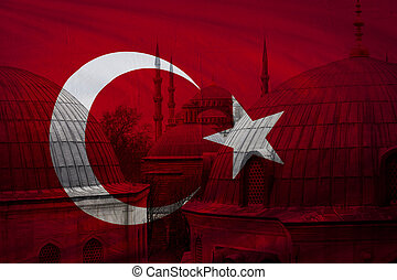 Turkish flag with view of Istanbul in background