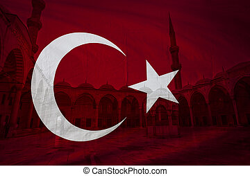 Turkish flag with view of Blue mosque courtyard in background