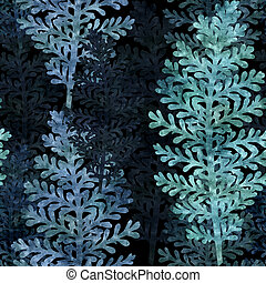 seamless graphic background with silver leaf plant, old...