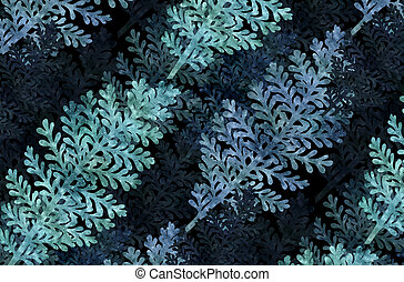 graphic background with silver leaf plant, old paper...