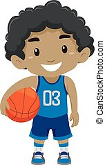 Black Boy Holding Basketball - Vector Illustration of a...