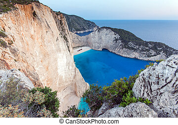 Navagio Shipwreck beach, Zakynthos - Amazing sunset panorama...