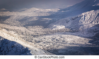 View of the mountain valley in winter