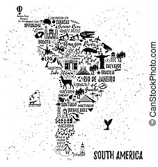 Cartoon map. Vectoe Illustration. - Typography poster. South...
