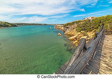 wooden bridge in Porto Cervo, Sardinia