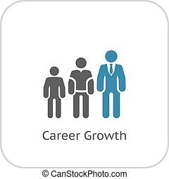 Career Growth Icon Flat Design Growing Silhouettes of People...