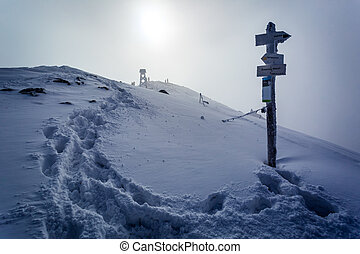 Snowy ridge in the mountains in winter