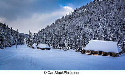 Old wooden cottages in winter mountains