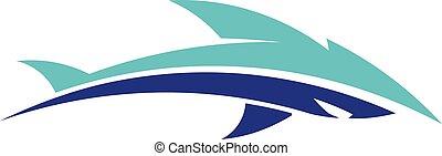 logotipo, abstratos, vetorial, peixe
