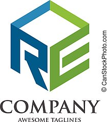 RE logo box - RE letter with box 3d style Business design...