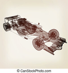 Formula One Mesh. 3D illustration. Vintage style.