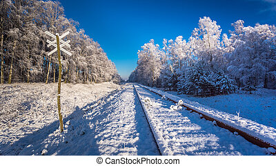 Frozen unused railway line in winter