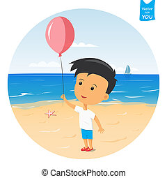 Cartoon happy boy - happy boy playing with balloon on the...