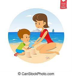 divertido, lindo, caricatura, bebé, y, mamá, Pla
