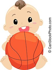 Baby Boy holding the Ball - Vector Illustration of Baby Boy...