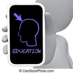 Eduction Online Indicates Mobile Phone And Cellphone 3d...