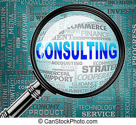Consulting Magnifier Indicates Turn To And Confer -...