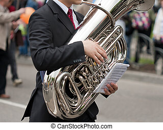 Musical instrument - Jazz music trumpet or trombone musical...