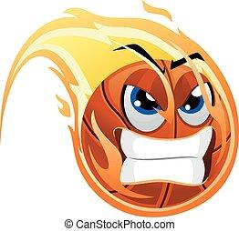 Ball Mascot on fire