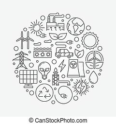 Alternative energy sources illustration Vector circular...