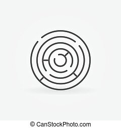 Round maze icon Vector minimal circle labyrinth symbol or...