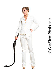 business woman with a whip in her hands - beautiful business...