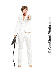 business woman with a whip in her hands. - beautiful...