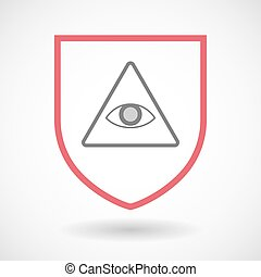 Isolated line art shield icon with an all seeing eye -...