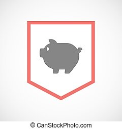 Isolated line art ribbon icon with a pig