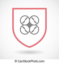 Isolated line art shield icon with a drone - Illustration of...