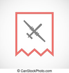 Isolated line art ribbon icon with a war drone -...