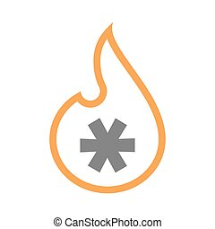 Isolated line art flame icon with an asterisk - Illustration...