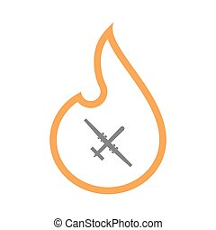 Isolated line art flame icon with a war drone - Illustration...