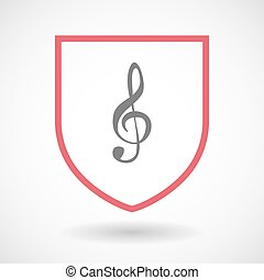 Isolated line art shield icon with a g clef - Illustration...