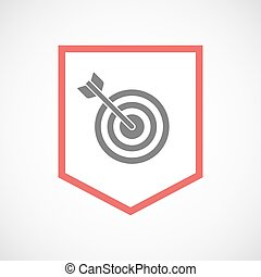 Isolated line art ribbon icon with a dart board -...