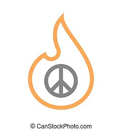 Isolated line art flame icon with a peace sign -...