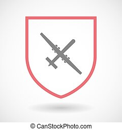 Isolated line art shield icon with a war drone -...