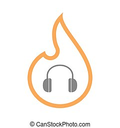 Isolated line art flame icon with a earphones