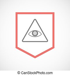 Isolated line art ribbon icon with an all seeing eye -...