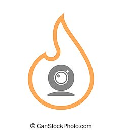 Isolated line art flame icon with a web cam