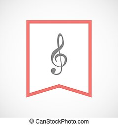 Isolated line art ribbon icon with a g clef - Illustration...